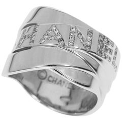 Chanel Bolduc Diamond 18 Karat White Gold Logo Ring US7.25