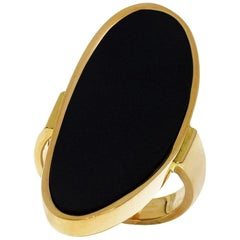Mattioli Black Chalcedony 18 Karat Yellow Gold Ring US 5