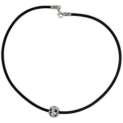 Kian Design White Gold Multi-Color Diamond Black Neoprene Necklace