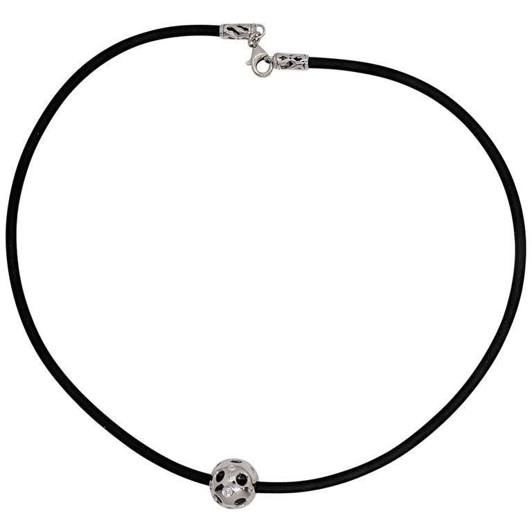 Kian Design White Gold Multi-Color Diamond Black Neoprene Necklace For Sale