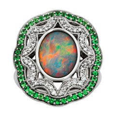 Giulians 18K Australian Black Opal Tsavorite Garnet and Diamond Ring