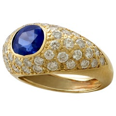1,60 Karat Saphir 1,20 Karat Diamant Gelbgold Cocktail Ring