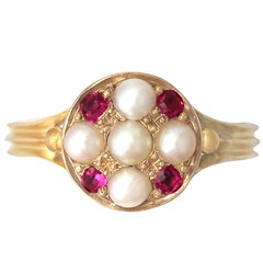 Antique 1871  Pearl and Ruby Yellow Gold Cocktail Ring