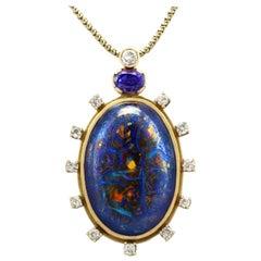 Vintage Boulder Opal, 1,52 Karat Saphir und 1,28 Karat Diamant Anhänger