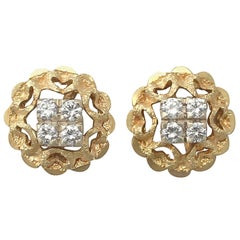 Vintage Diamond, Yellow Gold, & White Gold Set Stud Earrings Circa 1950