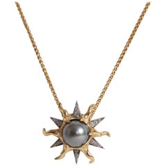 Sun Pendant in 18K Yellow and White Gold with a Tahitian Pearl and Diamonds