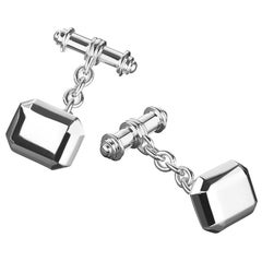 Sterling Silver Geometric Chain-Link Cufflinks