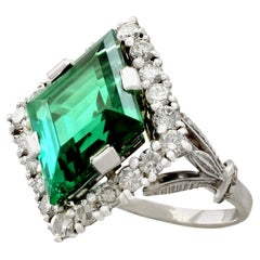 1940s 6.02 Carat Tourmaline Diamond White Gold Cocktail Ring