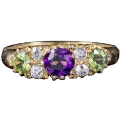 Antique 18 Carat Gold Edwardian Suffragette Ring Amethyst Peridot Diamond, 1912