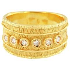 Sacchi Diamonds Gemstone 18 Karat Satin Yellow Gold Wide Band Ring Roman Style