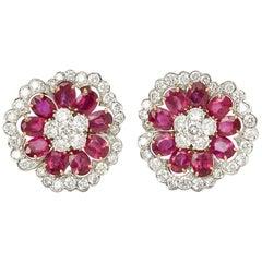 Van Cleef & Arpels Platinum Ruby & Diamond Flower Camellia Statement Earrings