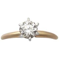 Vintage Diamant und Gelbgold Weißgold Set Solitaire Ring