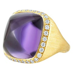 Square Hand Curved Cabochon Amethyst 21 Carat and Diamonds in 18 Carat Gold