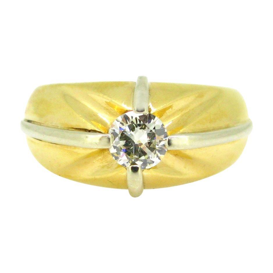 Retro French Gypsy Diamond White Yellow Gold Ring