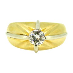 Retro French Gypsy Diamond White Yellow Gold Ring