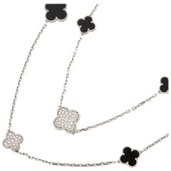 Van Cleef & Arpels 18k White Gold Onyx & Diamond Magic Alhambra Necklace
