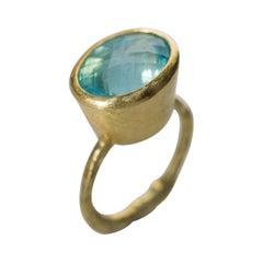 Deep Blue Aquamarine 18 Karat Gold Cocktail Ring Handmade by Disa Allsopp