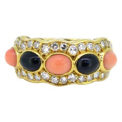 Van Cleef & Arpels Korallen Onyx und Diamanten Gelbgold Fashion Cocktail Ring