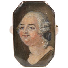 Louis XVI Gold and Enamel Portrait Ring, 1793