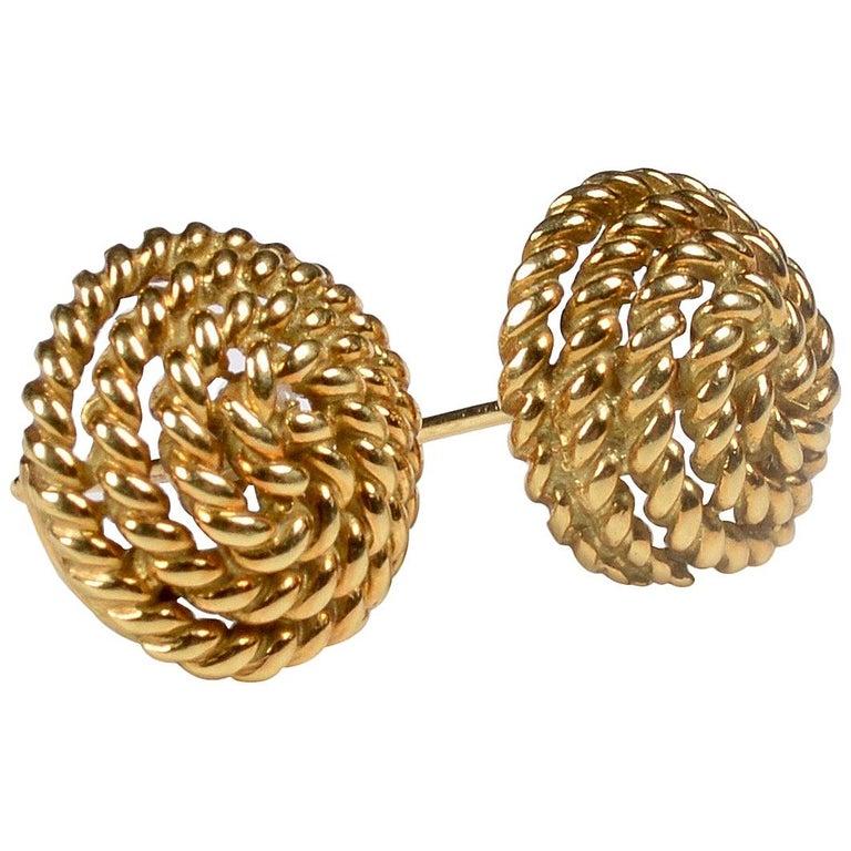 Tiffany & Co. 18 Karat Gold Spiral Stud Earrings For Sale