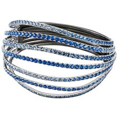 18 Karat White Gold, Rhodium-Plated Sterling Silver Blue Sapphires Bangle Aenea