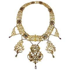 Rare Art Nouveau Paul Telge Berlin Diamond Ruby Emerald Pearl Gold Necklace