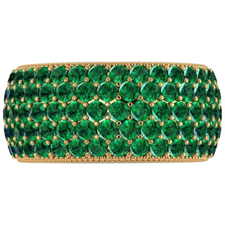 4.70 Carat Deep Green Emerald Wide Eternity Band 18 Karat Yellow Gold