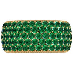 4.70 Carat Deep Green Emerald Wide Eternity Band 18 Karat Yellow Gold
