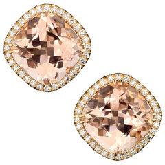 18 Karat Rose Gold Morganites 10.42 Carat Diamond Entourage 0.35 Carat Earrings