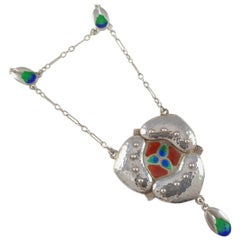 Murrle Bennett & Co. Arts & Crafts Silver and Enamel Pendant Necklace circa 1905