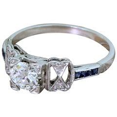 Art Deco 0,56 Karat Altschliff Diamant und Saphir Platin Verlobungsring
