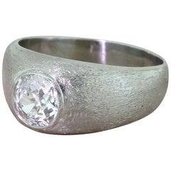 Art Deco 1.20 Carat Old Cut Diamond Platinum Solitaire Ring