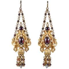 Antike Georgische Granat Perlen Ohrringe in 18 Karat Gold, Circa 1800