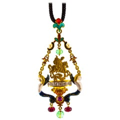 4.21 Carat White Diamond Ruby Emerald Pearl Yellow Gold Saint George Necklace