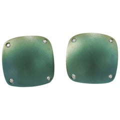Diamond Green Titanium Gold Cufflinks Handcrafted by Margherita Burgener -Italy
