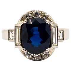 Certified 3.36 Carat Blue Sapphire 1.14 Carat Diamond White Gold Cocktail Ring