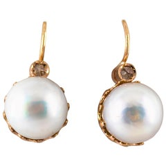 0.10 Carat White Rose Cut Diamond Mabe Pearl Yellow Gold Lever-Back Earrings