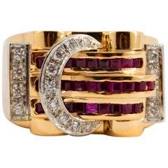 1.00 Carat Carre Cut Ruby 0.35 Carat White Diamond Yellow Gold Poison Ring