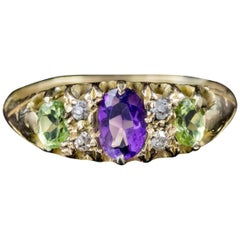 Antique Victorian Diamond Amethyst Peridot Suffragette Ring 18 Carat Gold