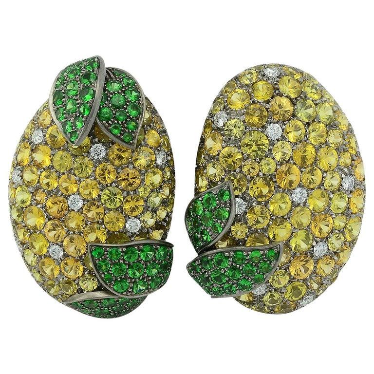 Margherita Burgener Yellow Sapphires Tsavorite Diamond Titanium Gold Earrings For Sale