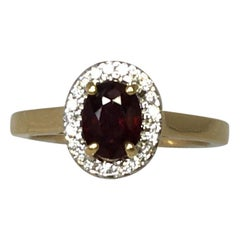 IGI Certified Untreated Ruby and Diamond 18 Karat Yellow Gold Halo Cluster Ring