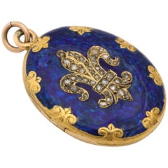 Antique Victorian Enamel and Diamond Locket