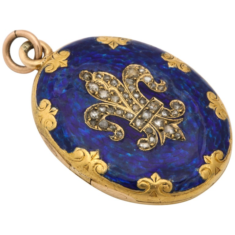 Antique Victorian  Champleve Enamel Locket For Sale