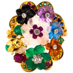 "Art Nouveau Diamond Emerald Ruby Sapphire Amethyst Agate Cocktail ""Flowers"" Ring"