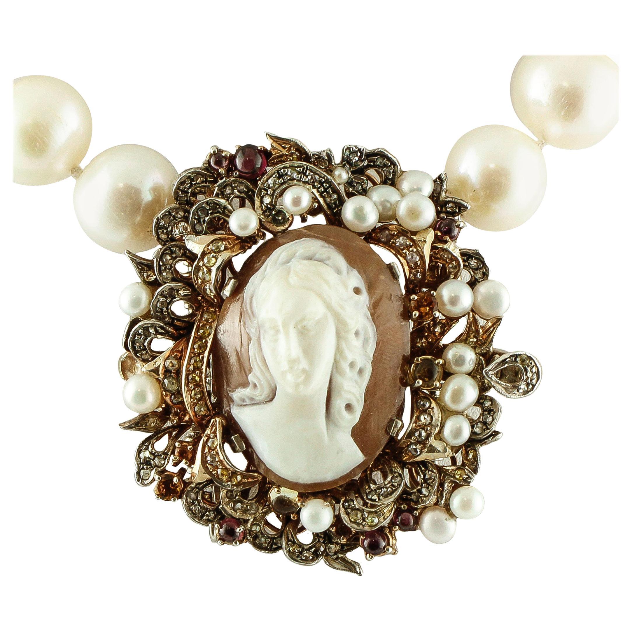 Diamonds, Garnets, Topazes, Cameo, Australian Pearls Beaded Retro Necklace