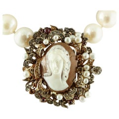 Diamonds, Garnets, Topazes, Cameo, Australian Pearls Beaded Retro Necklace