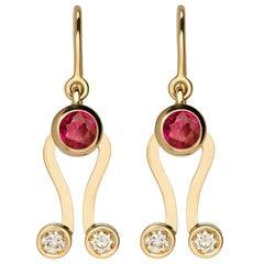 Nathalie Jean 0.2 Carat Diamond Tourmaline Gold Drop Dangle Earrings