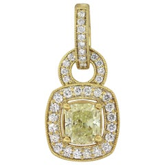 1.04 Carat Fancy Greenish Yellow Radiant GIA Diamond Pendant