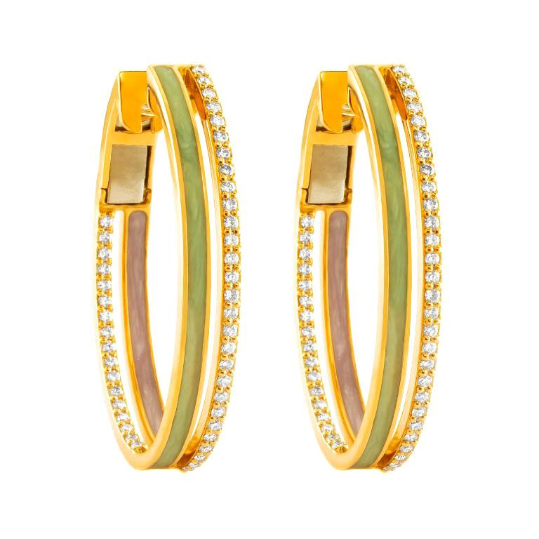 18 Karat Rose Gold and 0.32 Carat Spectrum Inside Out Hoops by Alessa Jewelry For Sale