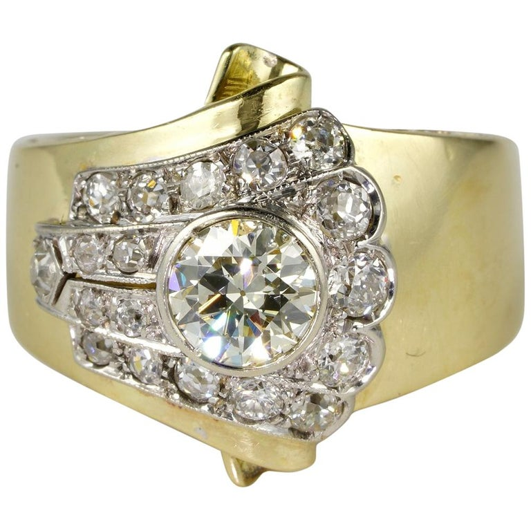 1.50 Carat Diamond Buckle Ring For Sale
